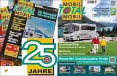 25 Jahre Mobil Total - Europas größter Stellplatz-Katalog, ist in der 25. Auflage mit der top-aktuellen Ausgabe 1/2020 Frühling/Sommer im Handel. (Foto: Mobil Total)