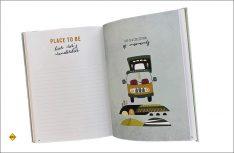 Das Vanlife Logbuch des Bruckmann Verlages ist liebevoll und individuell illustriert. (Foto: Hollerith)