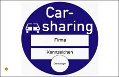 Sinnbild Plakette des Ausweises zur Kennzeichnung von Carsharing-Fahrzeugen. (Foto: BaSt)