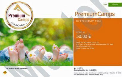 Mit Gutscheinen für PremiumCamps kann man Freude schenken und seinen Lieblingsplatz in schwierigen Zeiten sinnvoll unterstützen. (Foto: PremiumCamps)