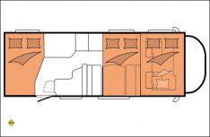 Beim Hobby Optima Ontour Alkovenmobil A70 GFM können bis zu sechs Sitz- und Schlafplätze realisiert werden. (Grafik: Hobby)