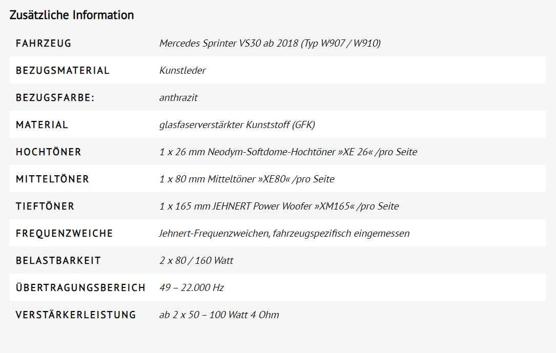 Die Entwicklung geht immer weiter. Bester Sound im neuen Mercedes Sprinter. (Foto: Jehnert)