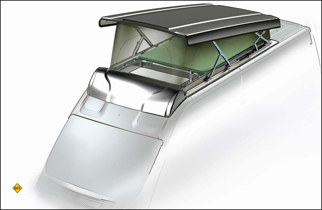 """Das neue Lippert Aufstelldach """"Vela"""" ist in modernster thermogeformte Doppelwandtechnik hergestellt und deshalb leicht, vollisoliert und beheizbar. (Grafik: LCI Lippert)"""