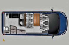 Der Grundriss des Ford Nugget Plus. (Grafik: Ford AG)