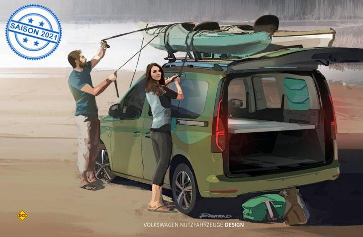 So soll er aussehen: Auch auf der 5. Generation des VW Caddy möchte VW Nutzfahrzeuge einen Mini-Camper anbieten. (Foto: Volkswagen Nutzfahrzeuge)