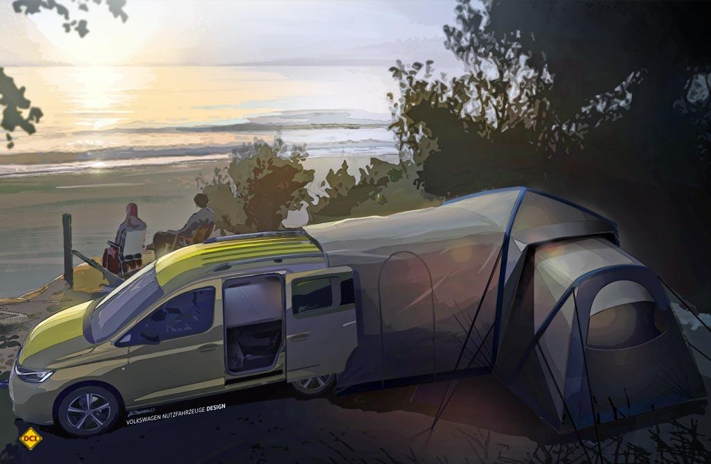 Mit Zubehör wie Heckzelt, Campingtisch und Campingstühle wird der Mini-Camper von VW zum tauglichen Urlaubsgefährt. (Foto: Volkswagen Nutzfahrzeuge)