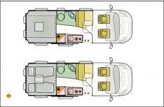 Der Grundriss des Adria Twin Plus 640 SGX mit einem Hubbett im Heck. (Grafik: Adria)