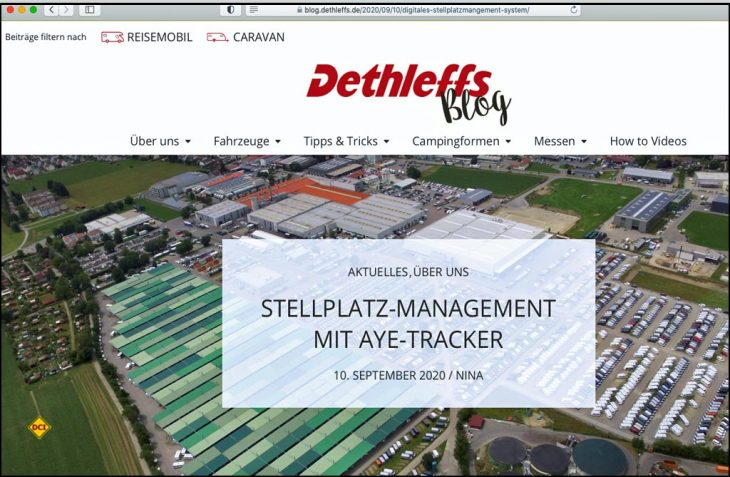 Neuer Kommunikationsweg: Dethleffs möchte mit seinem Blog Caravaning-Fans und solche, die es noch wqerden wollen, ansprechen. (Foto: Screenshot)