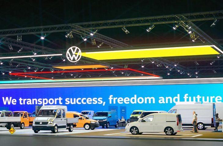 Jubiläum: Seit 25 Jahre ist Volkswagen Nutzfahrzeuge eine eigene Marke im VW-Konzern. Hier die aktuelle Modellpalette auf dem virtuellen Messestand 2020. (Foto: VWN)