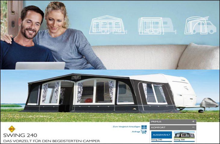 dwt-Zelte verknüpft online-Auswahl des passenden Zeltes mit persönlicher Beratung und Händlerkontakt. (Foto: dwt-Zelte).