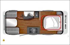 Der Grundriss des LMC Style 450 D: Großzügiger Familien-Caravan mit vier Schlafplätzen.