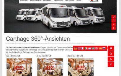 Aufgeräumtes Design; 360-Ansichten und Mehrsprachigkeit. Die Webseite von Carthago 2020/21 präsentiert sich modern und ansprechend. (Montage: tom / D.C.I.)