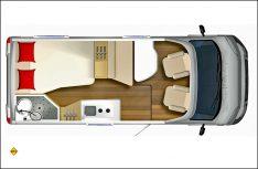 Bürstner startet die neue Einsteiger-Baureihe Nexxo-Van mit fünf Grundrissvarianten. Hier der T 569 mit französischem Heckbett. (Grafik: Bürstner)