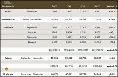 Neuzulassungen Reisemobile Deutschland 2020 bis November. (Grafik CIVD)