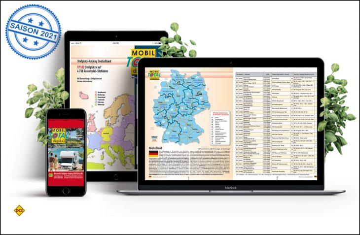 Jetzt gibt es den Mobil Total Reisemobil Stellplatz-Katalog auch in übersichtlichen Länder Einzel-Katalogen zum Download für Smartphone und Tablet. (Foto: Mobil Total)
