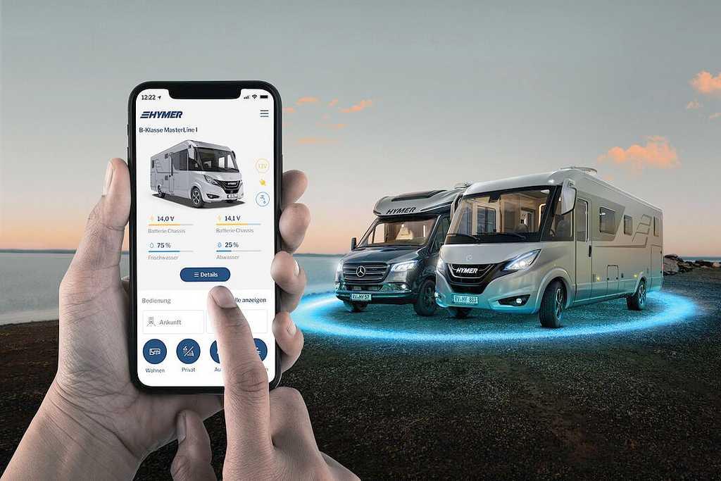 Hymer Connect App: Das erste smarte Ökosystem für das vernetzte Reisemobil. (Foto: Hymer)