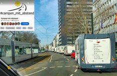 De Facebook-Gruppe Campen mit Abstand hat in Düsseldorf die erste Caravaning-Demo gegen das Beherbergungsverbot organisiert und durchgeführt. (Foto: Campen mit Abstand)