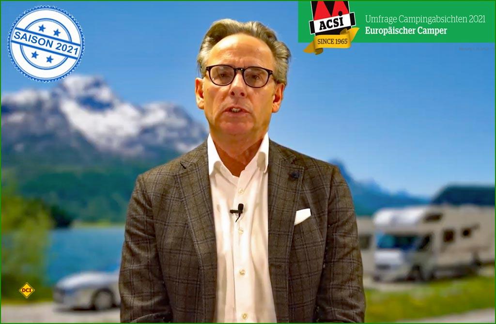 Ramon van Reine, CEO des niederländischen Camping-Spezialisten ACSI präsentiert eine Umfrage unter 24.000 erropäischen Campern. (Foto: ACSI)