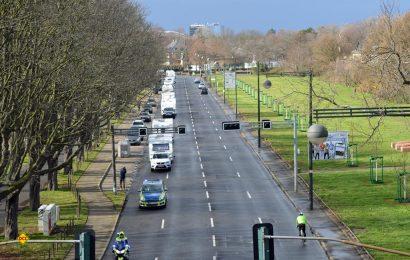130 Reisemobile und Caravans machten n Düsseldorf mit einem Fahrzeug-Korso auf die Schließung von Stell- und Campingplätzen aufmerksam. (Foto: det / D.C.I.)