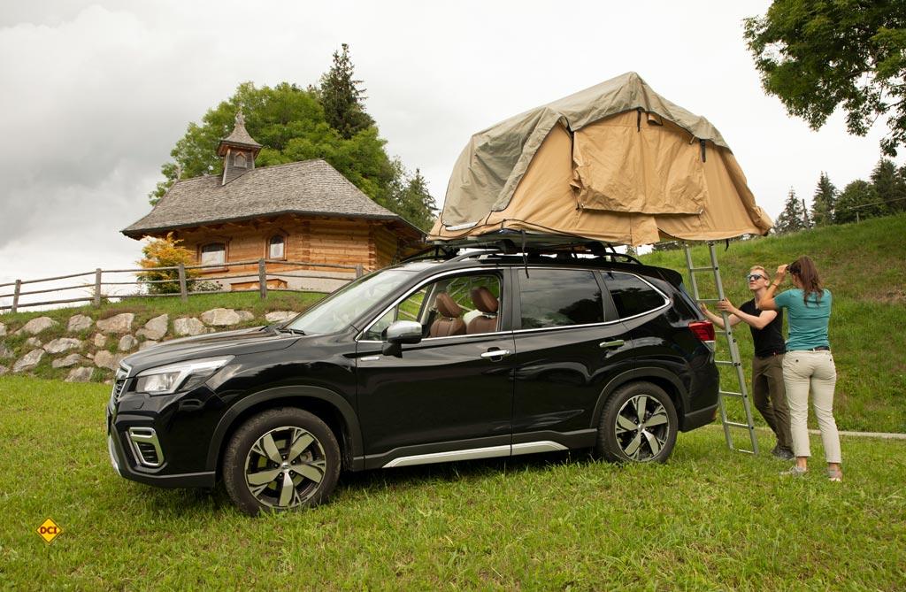 Das Dachzelt ist an jedem Ort schnell und einfach aufgebaut. (Foto: Subaru)