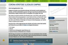 """Der Bundesverband der Campingwirtschaft Deutschlands e. V. ruft seine Mitglieder auf, """"illegales Camping"""" zu suchen und für eine """"Schwarze Liste"""" online zu melden. (Screenshot D.C.I.)"""