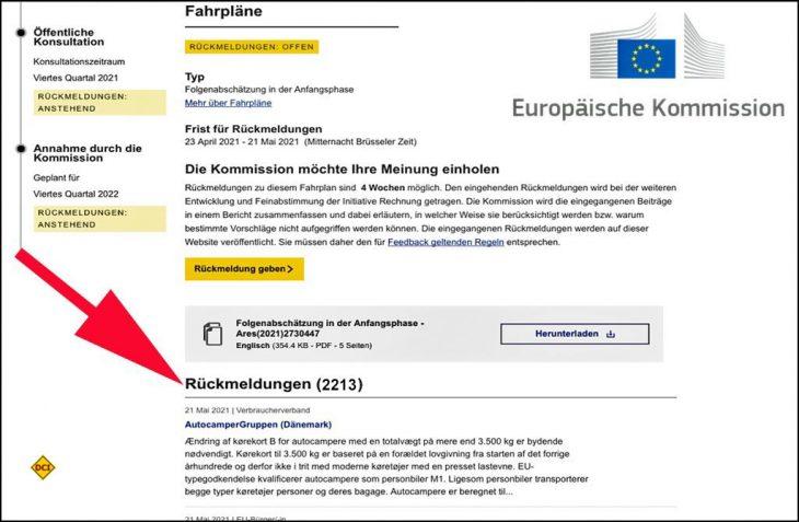 Über 2.200 Rückmeldungen zur Novelle der Führerscheinregelung kamen beim public hearing der EU-Kommission zusammen. (Screenshot: D.C.I.)