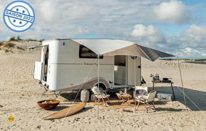 Hobby Beachy: Der neue Strandwohnwagen soll maritimes Flair und Vanlife-Feeling in die Caravaningbranche bringen. (Foto: Hobby)