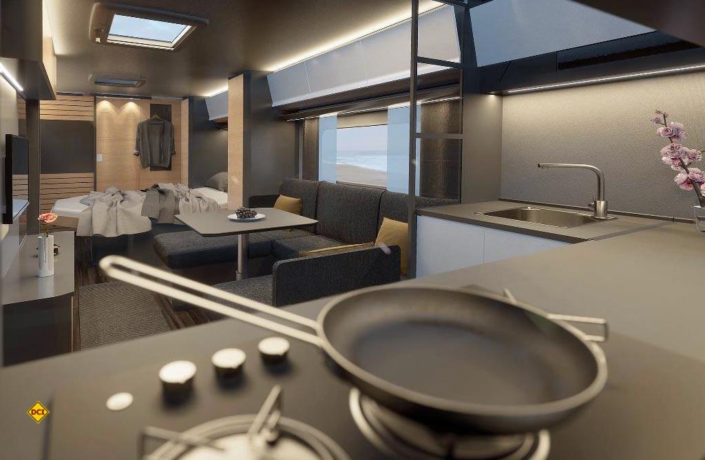 Edel und farblich perfekt aufeinander abgestimmt: Eine großzügige Bugküche mit Panoramadach, eine hyggelige Sofalandschaft mit großem TV-Bildschirm, ein französisches Queensbett und einen luxuriösen Heckwaschraum bietet der neue Maxima von Hobby. (Foto: Hobby)
