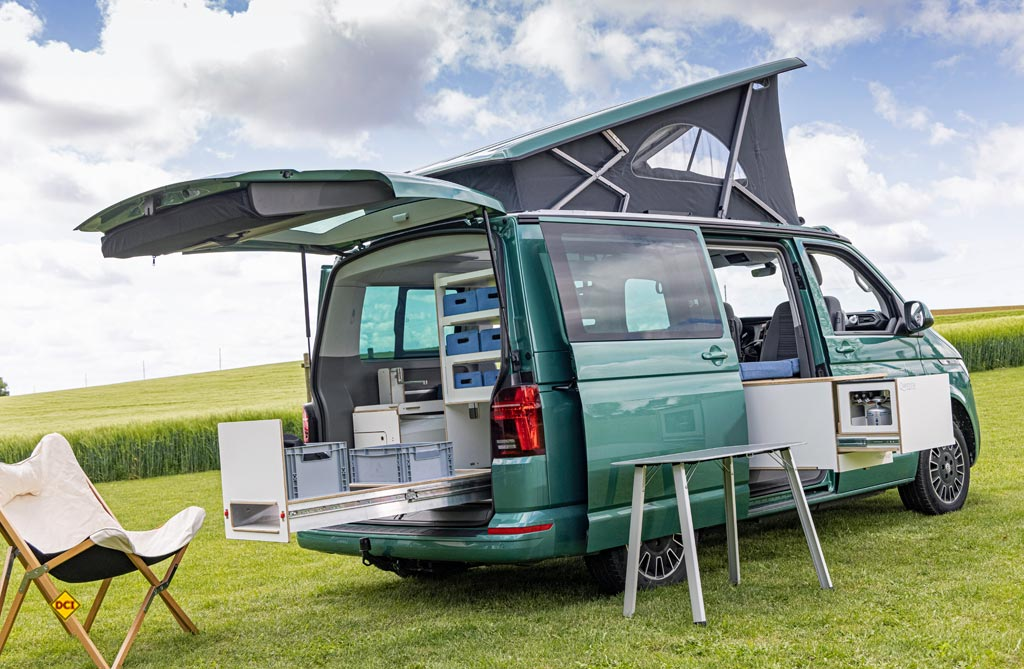 Das pfiffige Boxensystem Inside 2 für den VW Bulli von Queensize Camper. (Foto: VWN)