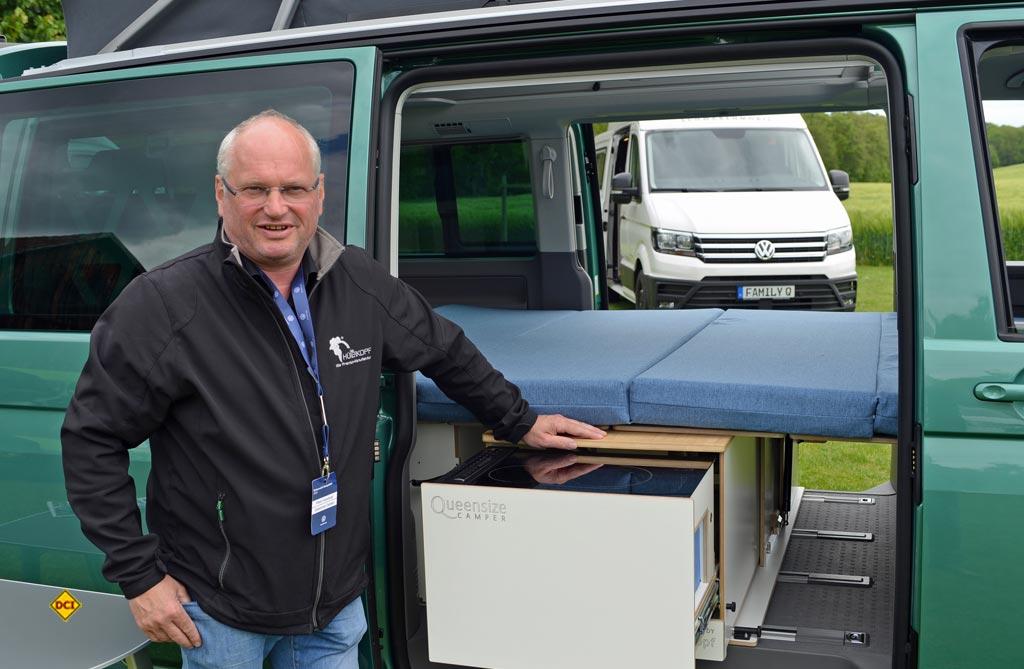 Klaus Hünerkopf baut und vertreibt die Systeme für den VW Bulli von Queensize Camper. (Foto: det/ D.C.I.)
