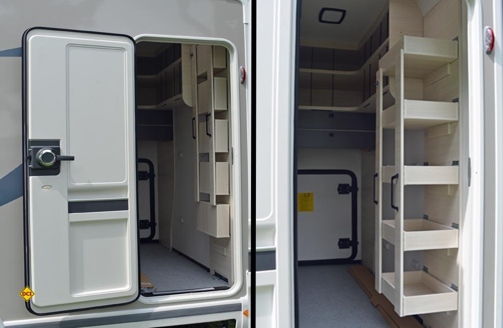 Der Clou: Eine zweite Wohnraumtür zur begehbaren Garage mit Regalsystemen. (Foto: det /D.C.I.)