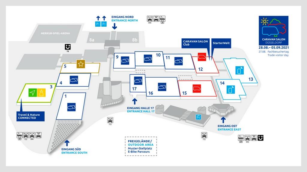 So schaut' s aus! Der Hallenplan für den Caravan Salon 2021. (Grafik: Messe Düsseldorf)