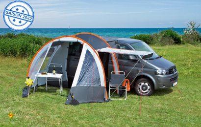Die Wetterschleuse Picco für Vans mit klassischem GfK-Gestänge besticht durch hohe Stabilität bei Wind und Wetter. (Foto: dwt)